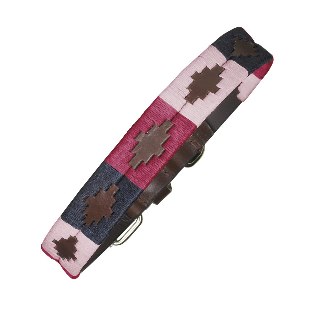 argentinian leather polo dog collar pink navy petalo 1000x1000