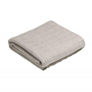 CASHMERE THROW DESCANSO BEIGE/WHITE