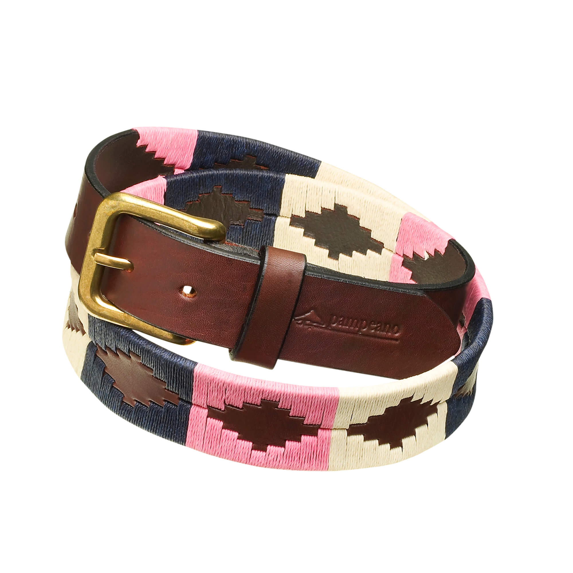 leather polo belts cream pink navy dulce
