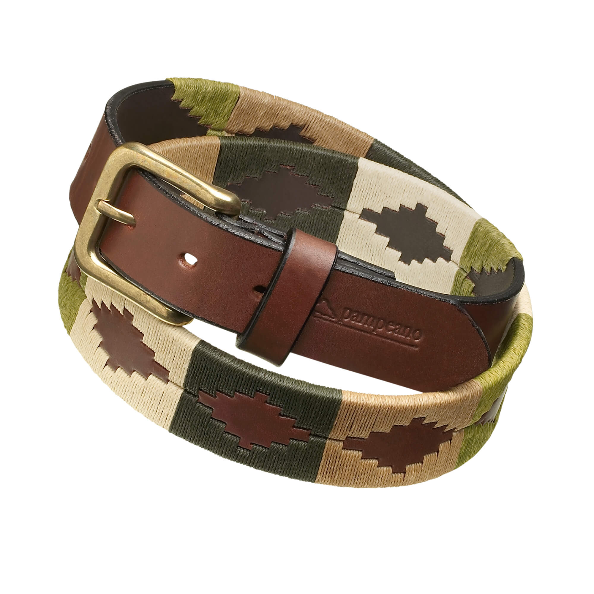leather polo belts green brown valiente