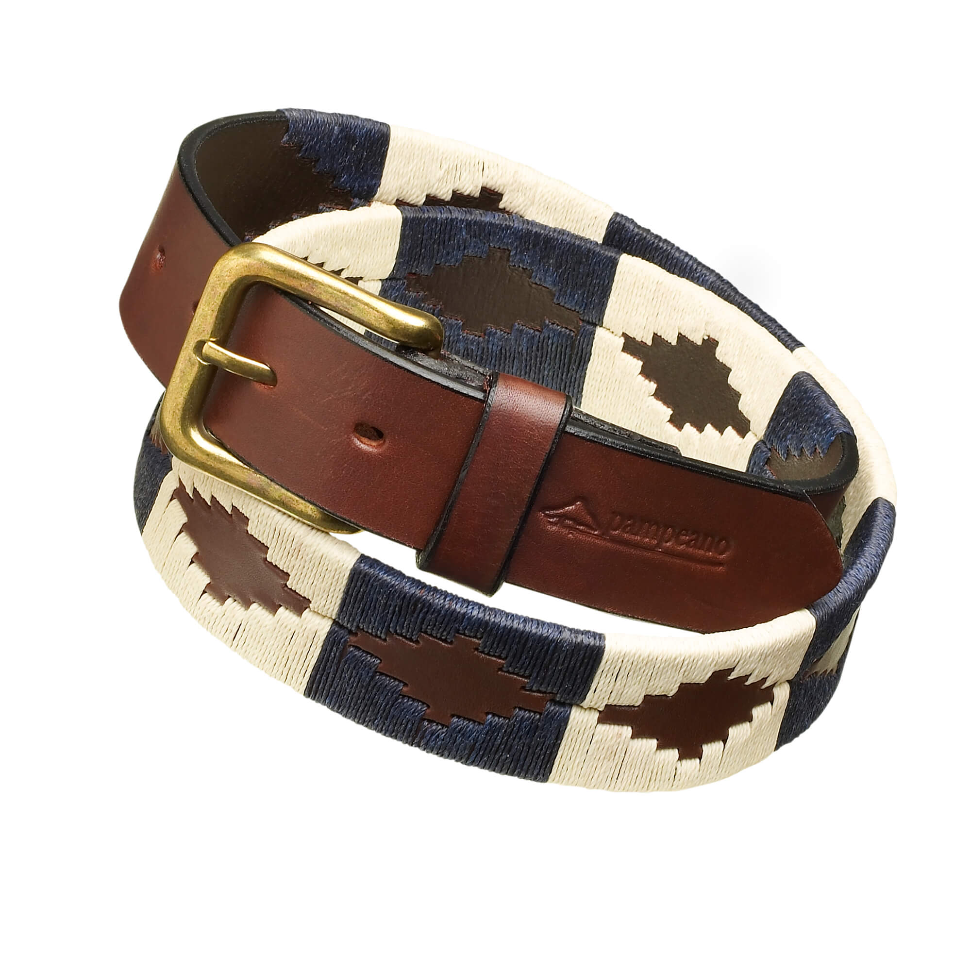 leather polo belts navy cream jugadoro